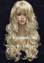Wholesale free shipping >> STRIKING Wig! Long Wavy Curly layered with bangs Pale Blonde 613 win(China (Mainland))