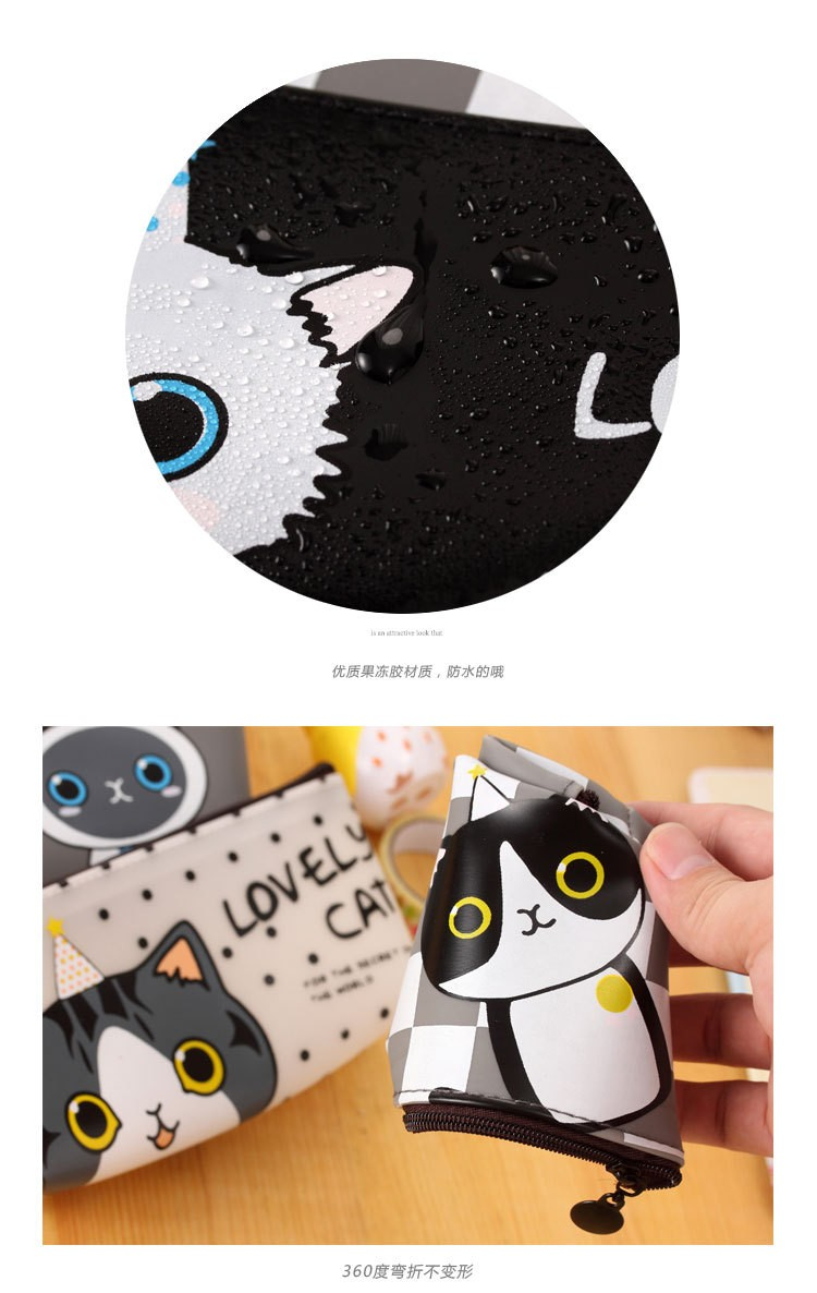 JDANCE New Cute Kawaii Cat Pencil Case Pu Leather Pen Bag for Kits Student Gift Korean Stationery Free shipping
