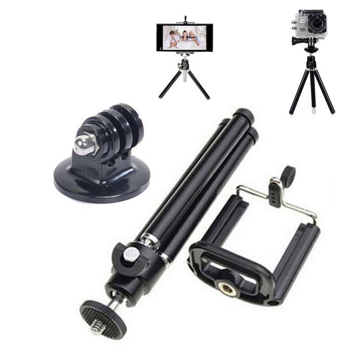 universal aluminum Mini tripod for camera Mobile Phone + Stand Holder+Tripe Mount Adapter for Gopro Camera HD SJ4000(China (Mainland))