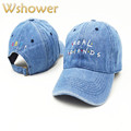 Which in Shower Embroidery Real Friend Baseball Cap Hip Hop Women Men Denim Black Pink