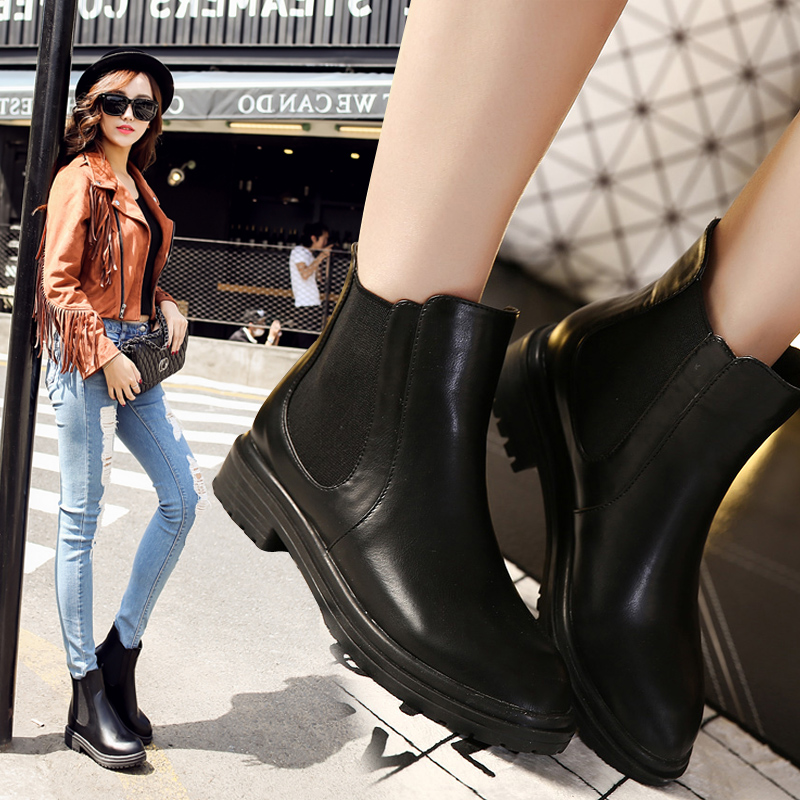 vintage martin boots black 2016 new  thick heel fashion boots womens shoes<br><br>Aliexpress