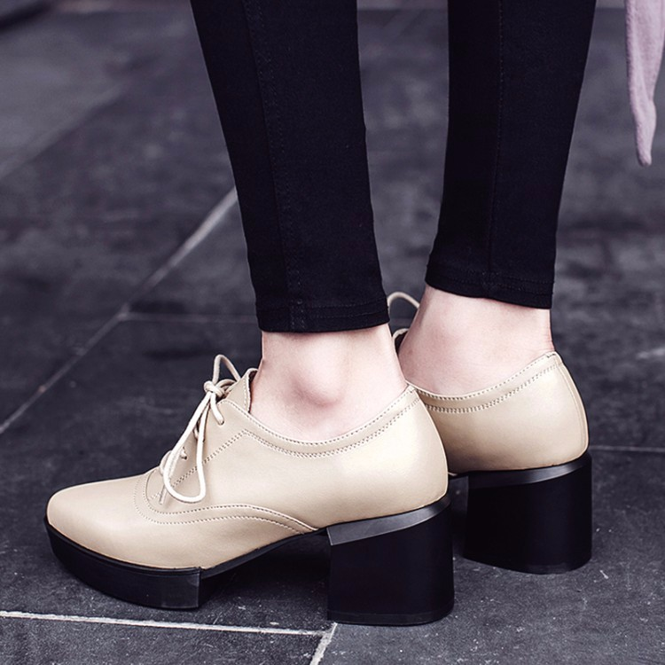 Genuine leather British Style Women Oxfords Flats shoes pointed Toe Creepers Casual Ladies Platform Brogue Shoes XWDH221