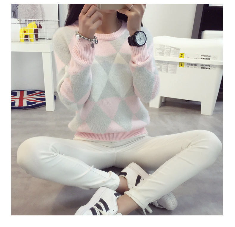 Women Winter Sweater Knitting Patterns Sweater O-Neck 2015 Long Sleeve Loose Wool Warm Pullovers Sweater Women Tops Free Size
