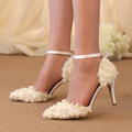 Beautiful Lace Flower Bridal Dress Shoes Wedding Party Pumps Pointed Toe Satin Dancing Shoes Buckle Strap
