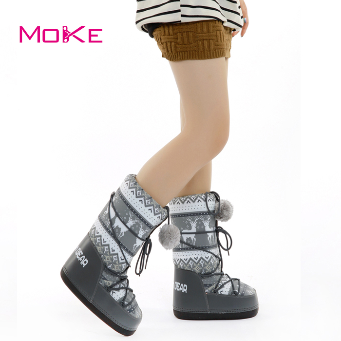 2017 New Christmas Bear Warm Snow Boots Fashion Women Space boot Lace Up Mid Calf Casual Plush Lining parent-child ski boot bota(China (Mainland))