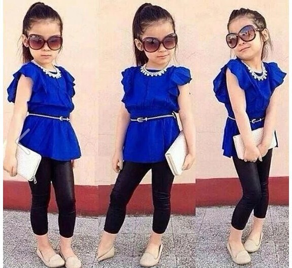 2015 Wholesale summer 2-6Y girls clothes 2pcs girls clothing set butterfly sleeves t-shirt+leather pants+belt children clothing<br><br>Aliexpress