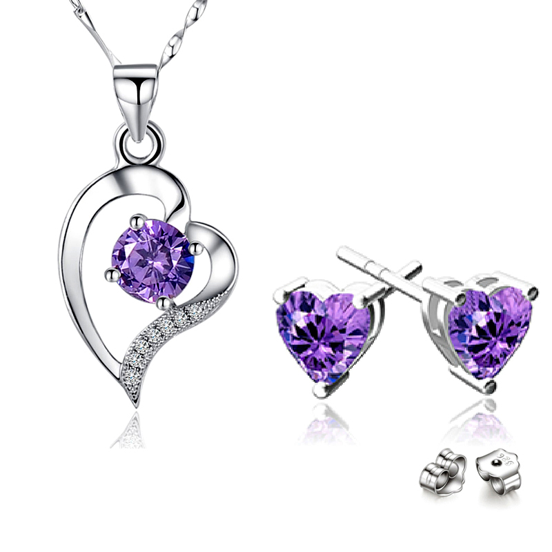 925 Sterling Silver Romantic AAA Austrian Crystal Cubic Zirconia Heart Pendant Necklace Stud Earrings Fashion Party Jewelry Sets<br><br>Aliexpress