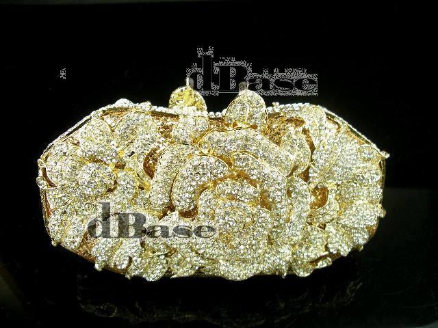 1514 Crystal Floral Flower Rose Wedding Bridal Party Night Golden Metal Evening purse clutch bag handbag<br><br>Aliexpress