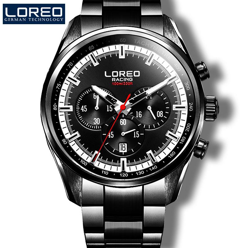 LOREO Germany watches men luxury brand sports fashion mens business calendar stainless steel quartz watch relogio masculino<br><br>Aliexpress