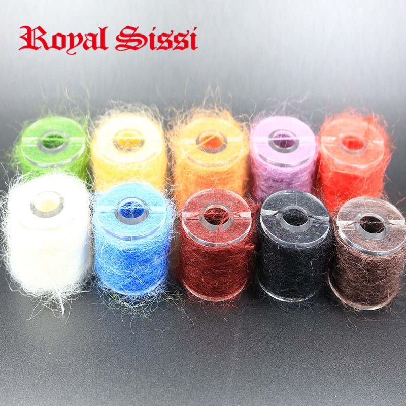 10 spools multi colors long hairy Dubbing Line yarn fibers for nymphal bugs&Scud Sand Worm Total 100M Fly fishing Tying material(China (Mainland))