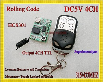 Rolling code Receiver Module Transmitter RF Wireless Remote Control super-heterodyne DC3-5V  Learning code 4CH Output  TTL