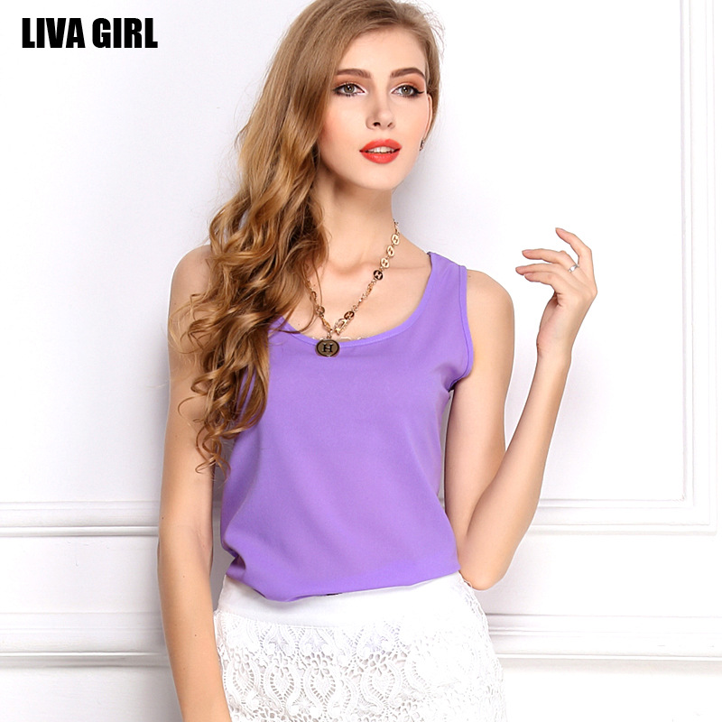 Fashion women's 2015 sleeveless chiffon vest candy color shirt solid spaghetti strap basic - liyuan store