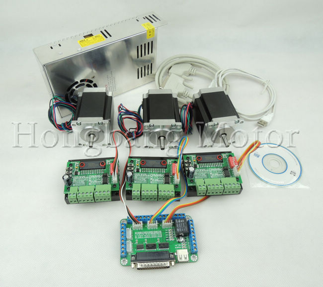 CNC Router Kit 3 Axis, 3pcs TB6560 1 axis stepper motor driver +one breakout board +3pcs Nema23 270 Oz-in motor+one power supply(China (Mainland))