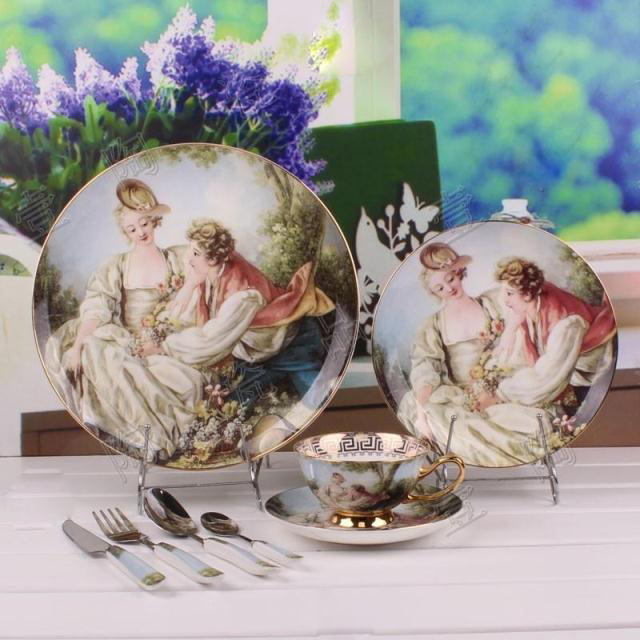 England Bone China Porcelain dinner sets Western Portrait Pattern Dinner Sets UK Serving Bowls Spoon Fork Knife Set for 1 person(China (Mainland))