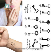 Body Art waterproof temporary tattoos for men and women Sex simple black key design small tattoo sticker Wholesale HC1170