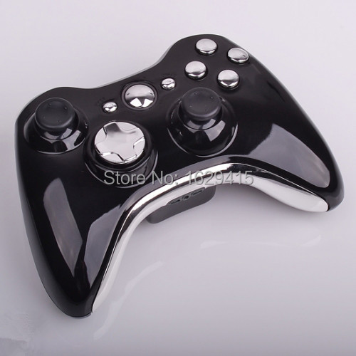 Glossy Black Replacement Shell For Microsoft Xbox 360 Wireless Controller With Chrome Silver Buttons for x box 360 control(China (Mainland))