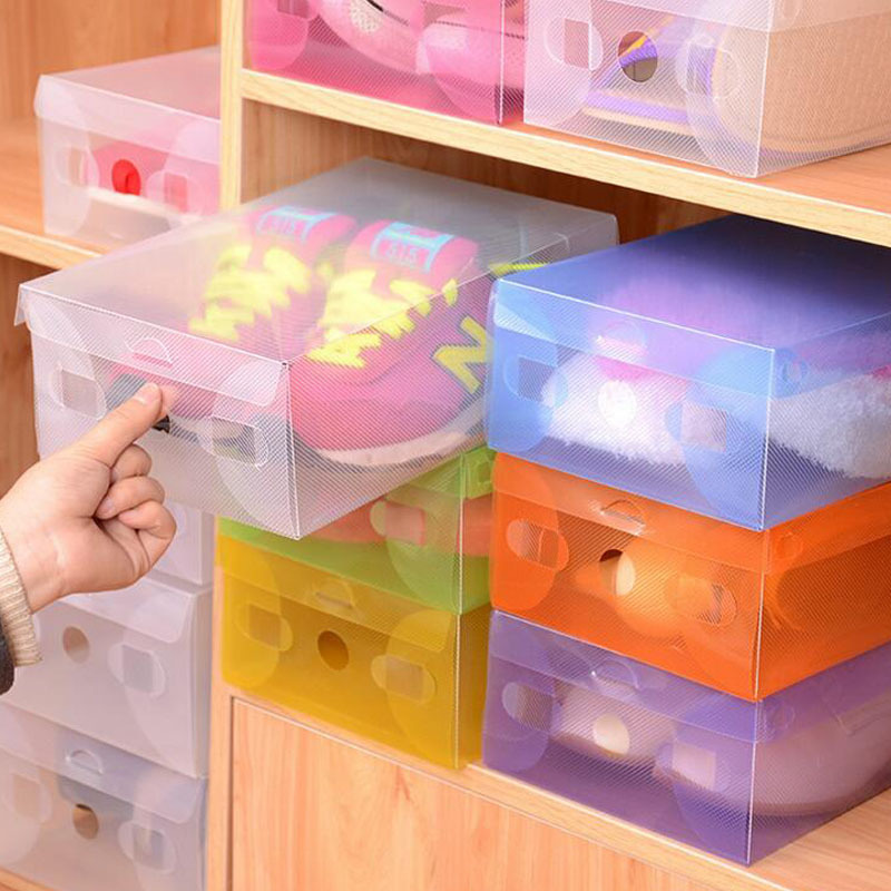 Colorful Clear Plastic Shoes Storage Box Foldable Drawer Type Box For Women Shoes Organizer 5(China (Mainland))