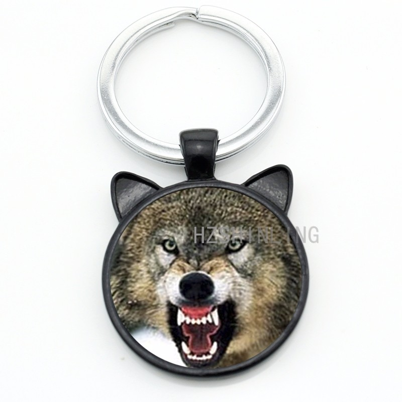 Vintage black wolf with flower rose keychain Snarl Snow Wolf keyring dire  wild animal charms key chain ring holder jewelry CN782 - us626