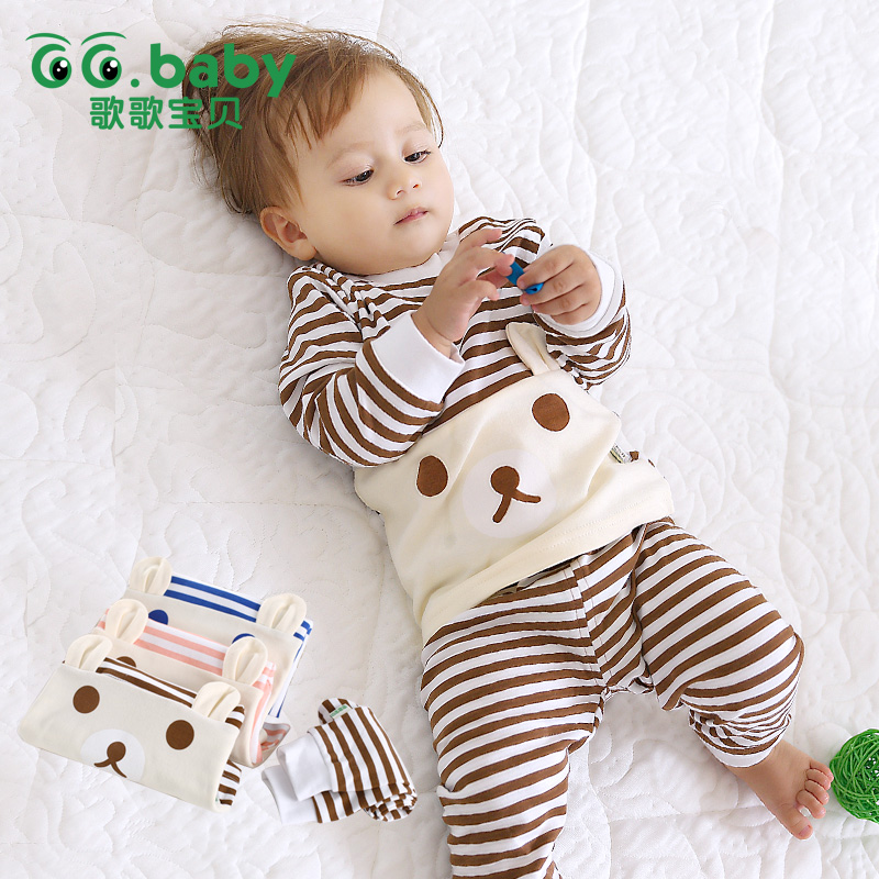 Hot Baby Boy Girl Pants Set Long Sleeve Bear Newborn Baby Suit Boy Ear Clothing Striped Sets Gift Suits Kids Clothes Set Infant(China (Mainland))