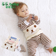 Hot Baby Boy Girl Pants Set Long Sleeve Bear Newborn Baby Suit Boy Ear Clothing Striped Sets Gift Suits Kids Clothes Set Infant