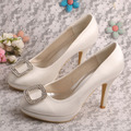 Wedopus Custom Handmade Rhinestone Women s High Heels Pumps Ivory White Red Party Wedding Bridal Shoes
