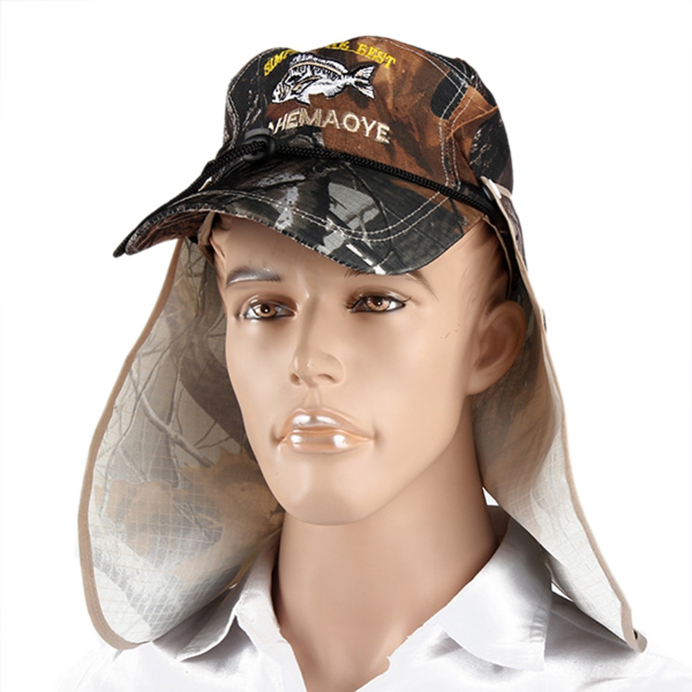Unisex Bucket Hat Fishing Boating Hiking Boonie Hat Outdoor Sun Cap+Face Shield