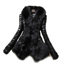 2015 Hot Sale Luxury Women's Faux Fur Coat Leather Outerwear Snowsuit Long Sleeve Jacket Black WF-8470(China (Mainland))