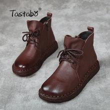 Tastabo Spitze-up Frauen Echtes Leder Ankle Schuhe Flache mit Vintage Dame Schuhe Retro Solid Black Ankle Stiefel für frauen(China)