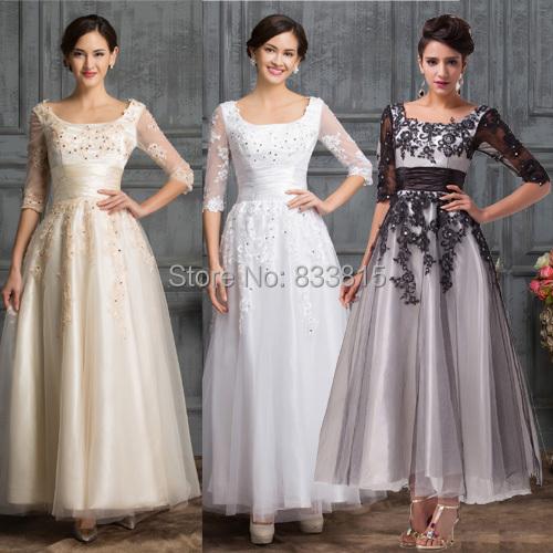 2015 Desinger Vintage moitié manches élégante perles noir / Champagne / blanc dentelle Tulle bal robe longue de bal robes de soirée 6051(China (Mainland))