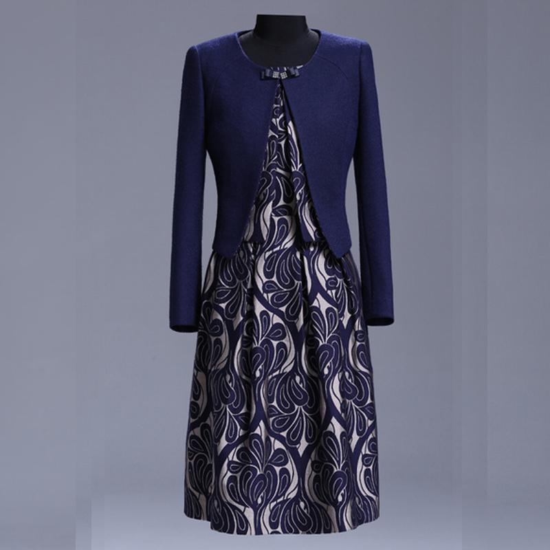 Skirt Suit For Women 2015 Autumn Winter 2 Piece Set Women Wool Jacket And Knee Length