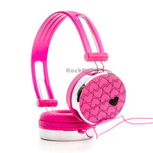 Rockpapa Love Heart Over Ear Boys Kids Childrens Teens Adult DJ Styles Headphones Headsets Earphones for iPod iPad mini Air Pink