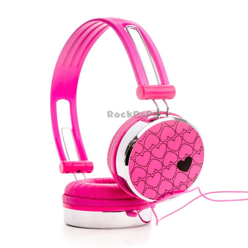 Rockpapa Love Heart Over Ear Boys Kids Childrens Teens Adult DJ Styles Headphones Headsets Earphones for iPod iPad mini Air Pink(Hong Kong)