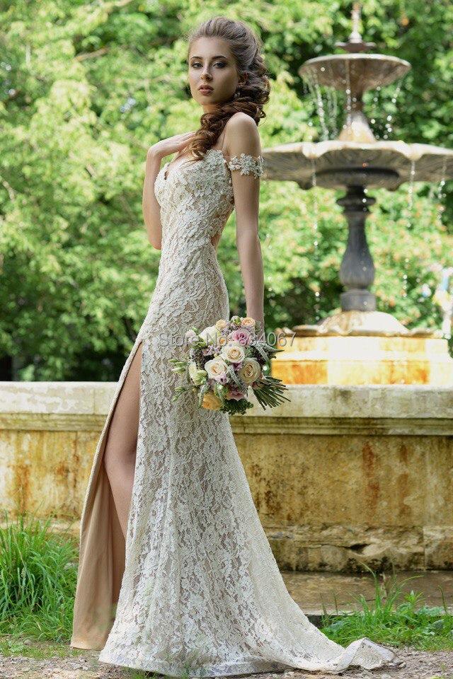 Backless atractivo de la boda del hombro vaina vestido de novia 2016 noiva High Side dividir barrer de tren vestido de encaje para novias en Vestidos de