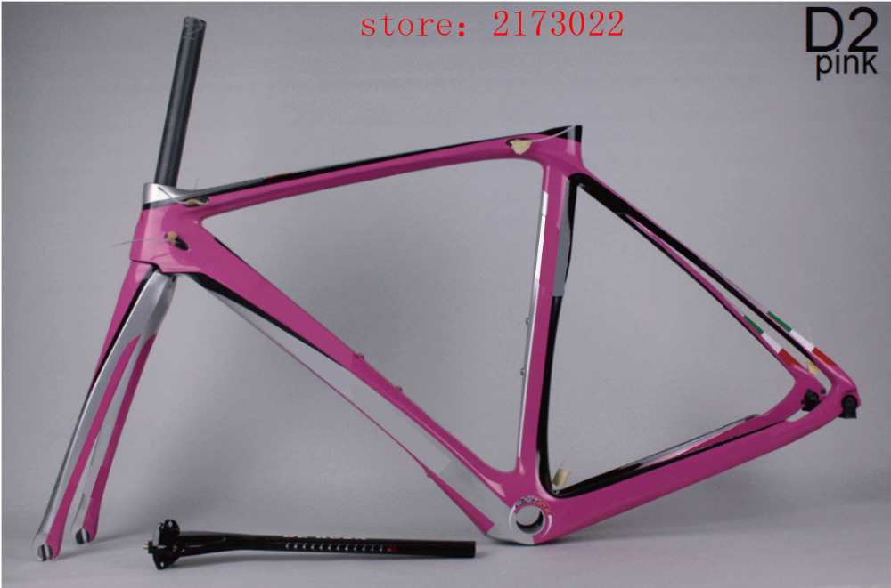 2016 new carbon frames D2 pink carbon fiber UD toray T800 road frame/Chinese factory wholesale full carbon bike frame DIY(China (Mainland))