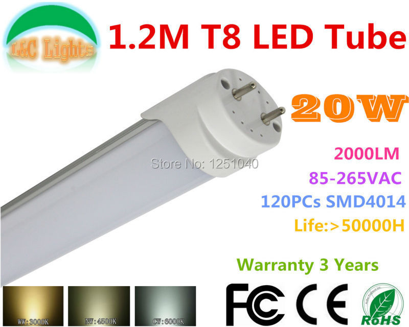 Factory Driect Selling 4ft LED Tube T8 1200M 20W 1800LM indoor Bulbs Ultra bright CE ROHS AC85-265V Warrant 3 Years 25PCs a Lot(China (Mainland))