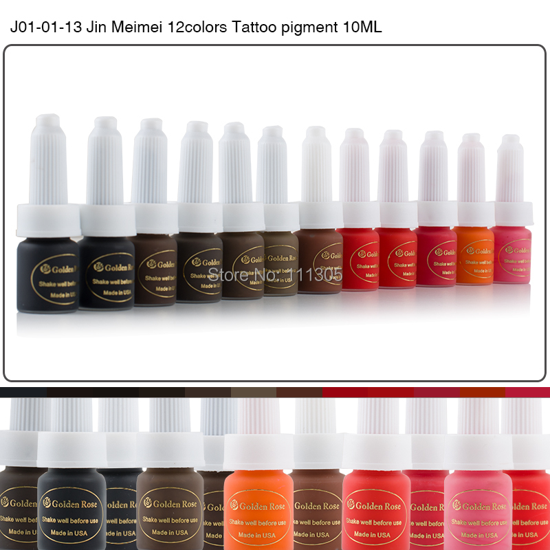 Golden Rose Professional Tattoo Ink Pigment 10ML 12 Colors Permanent Eyebrow Lip Makeup Machine - Value in Fashion store