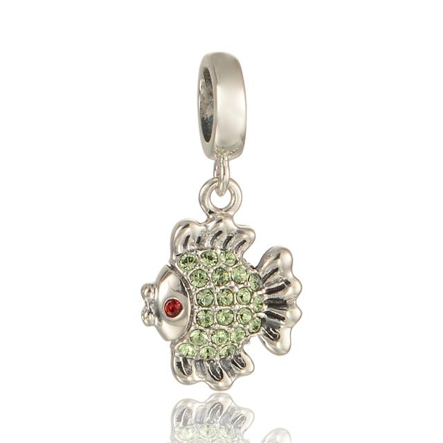 925 - серебристо-ювелирные симпатичные рыба вымощает зеленый кристалл бусины Fit пандора неповторимое очарование браслеты серебро 925 DIY