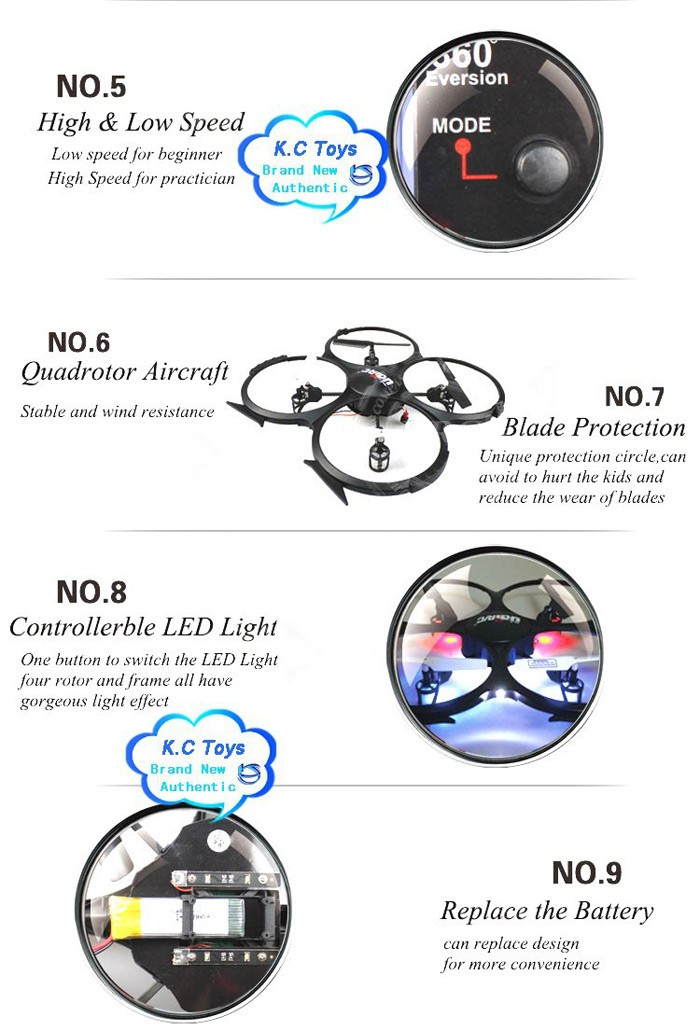 6 New Arrival Original UDI U818A HD UFO With 3D Flip 2.4G 4ch 6 Axis Drone RC Quadcopter with Camera RC Helicopter Toys