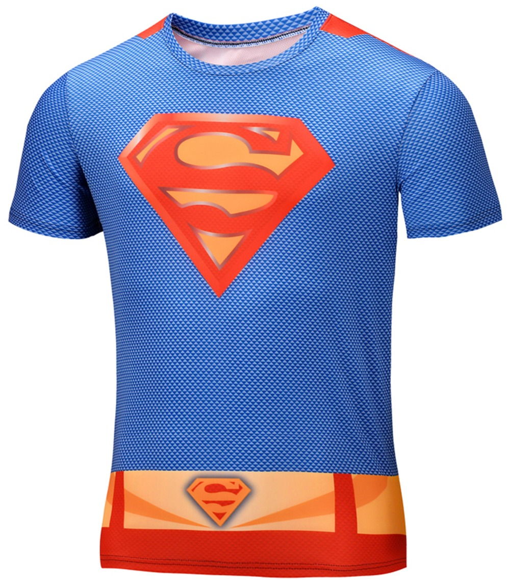 2016 Marvel Captain America 3 Super Hero lycra Tight compression sport T shirt Men fitness clothing short sleeves large size(China (Mainland))