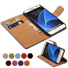 S7 / S7 Edge Luxury Wallet Genuine Leather Case for Samsung Galaxy S7 / S7 Edge Coque Flip Cover Stand Design with Card Slot New(China (Mainland))