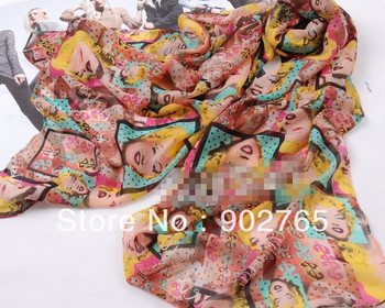 Free Shipping~lady's silk feeling  multi-coloured marilyn monroe scarf /rose pink head scarves wholesale