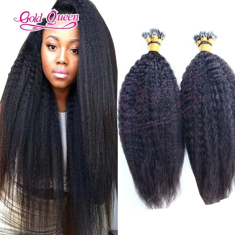Kinky Straight i tip hair extension italian kertain tip hair coarse yaki Brazilian virgin i tip fusion hair extensions 100g 100s<br><br>Aliexpress