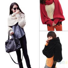 Fashion Style Women Solid Scarf With Sleeve Crochet Knit Long Soft twine  Shawl Scarves Novelty 02AE 4OJQ(China (Mainland))