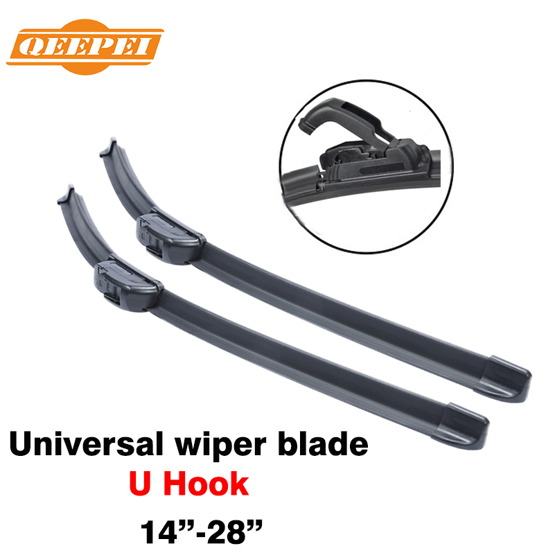 15'' - 28''inch Universal U Hook U-type Frameless Wipers Top Quality Silicone Rubber Blade Soft Car Windshield Windscreen QEEPEI(China (Mainland))