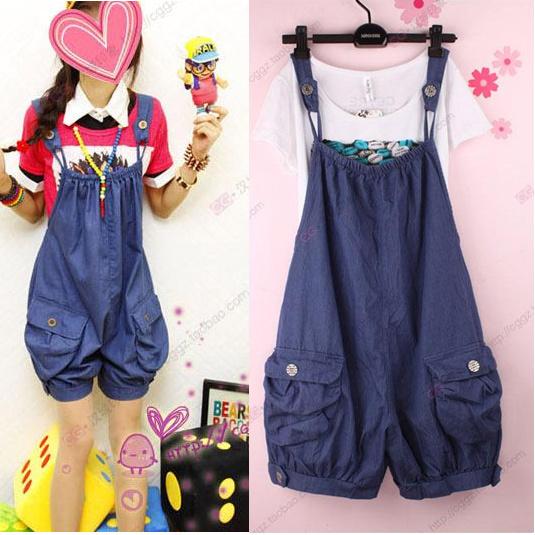 Free Shipping 2013 Summer Women Blue Black Denim Overalls Plus Size Loose Jeans Bib Pants Suspenders Shorts(China (Mainland))