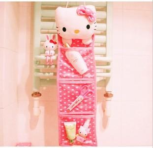 Kawaii Polka Dots Pink Hello Kitty Plush Long Slung Storage Bag/Hanging Bag,Home Decor Novelty Item Retail KCS(China (Mainland))