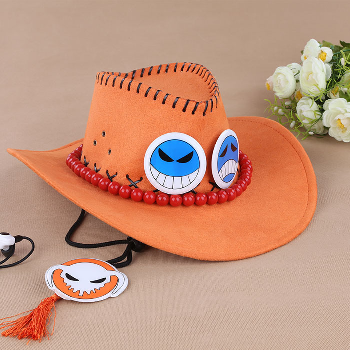 One Piece Luffy Brother Portgas D Ace Anime Cosplay Straw Cap Ace Orange Hat With Bones Skull Free Shipping #DA(China (Mainland))