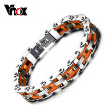 Buy Vnox Masculine Mens Bike Chain Bracelet Stainless Steel Motorcycle Link Chain Bicycle Chain Silicone Bangles for $8.24 in AliExpress store