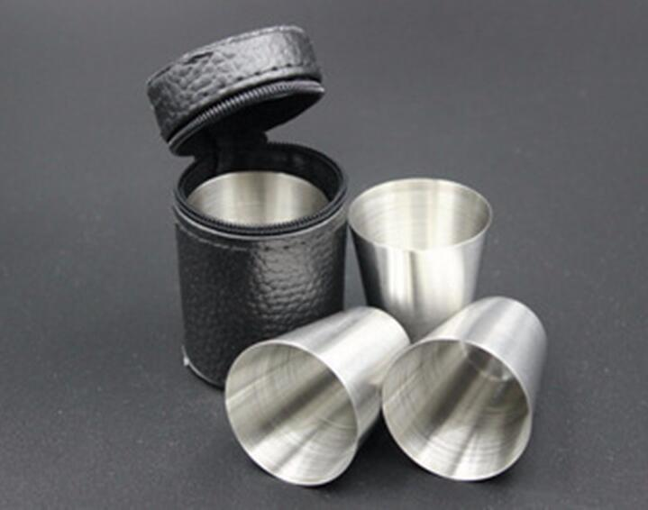 4pcs/set Mini Portable Wine Cup Bar Accessories Glass Travel Home Barware Stainless Steel Alcohol Silver Bottle 30ml(China (Mainland))