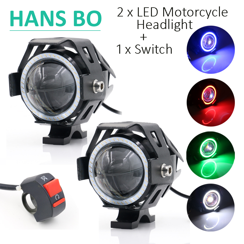 2PCS Cree U7 LED Car Motorcycle Headlight led DRL Fog light Spot Light Lamp 5 Color Angle Eyes + Devil Eyes 12V Waterproof 125W(China (Mainland))